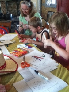 Kids making Skyhooks for dad.