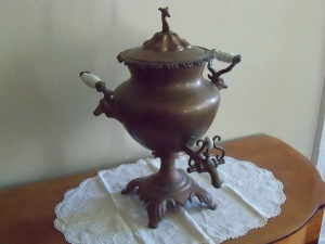 The samovar is on display in front hallway.
