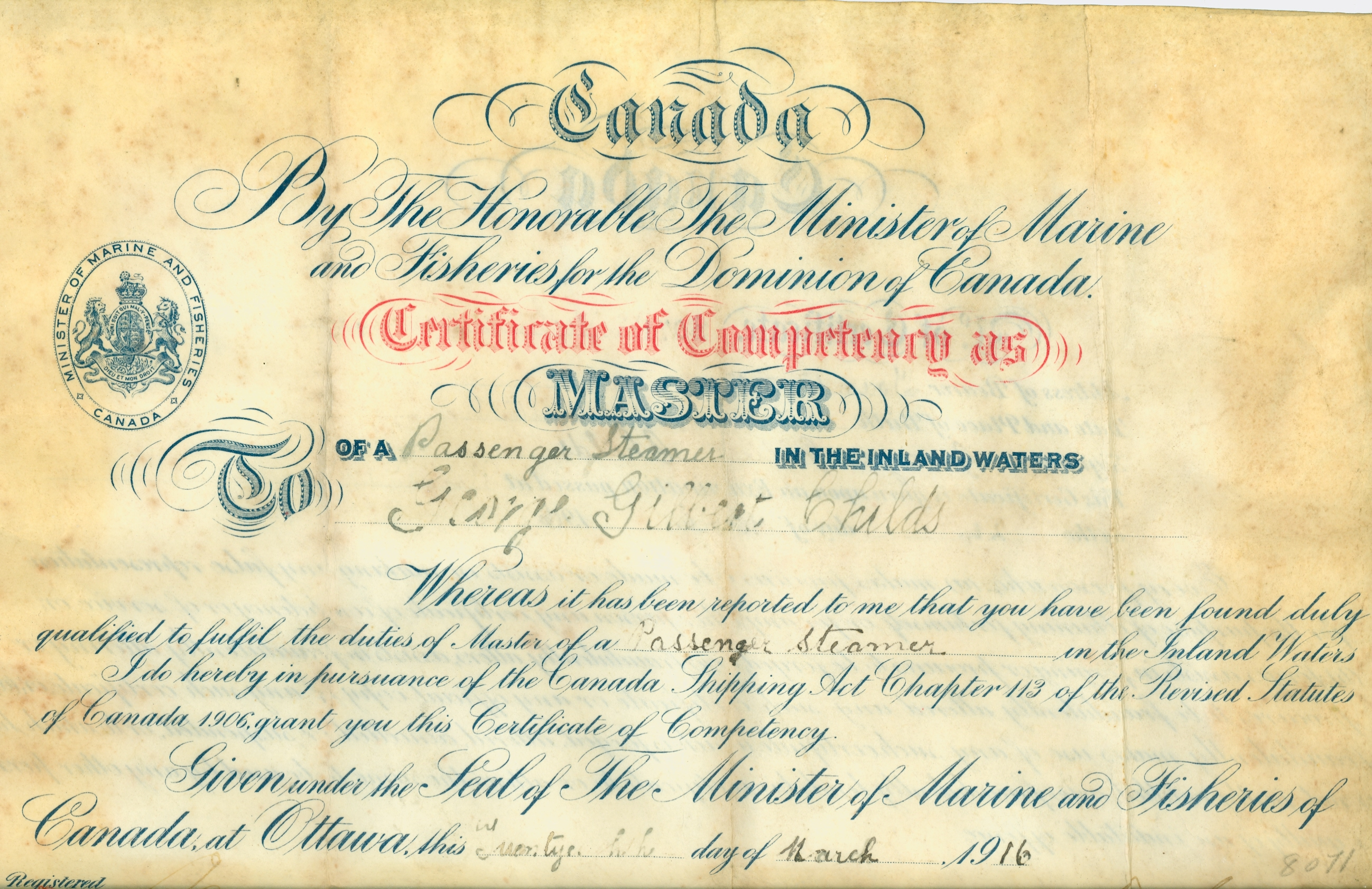 Artifact of the week certificate of competency as master of the the vellum master mariners certificate awarded to george gilbert childs march 1916 unfortunately the bottom is not shown as the certificate is too big xflitez Gallery