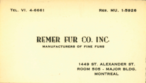 Lavimodiere Furs_bus card_Remer Fur Co
